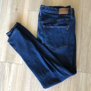 "Madewell 9"" mid rise skinny blue jean"